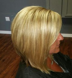 Slightly inverted Bob with base color and highlights and a few lowlights.