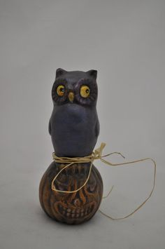 Chalkware Owl and Jack O' Lantern by folkhearts on Etsy, $50.00