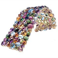 Bvlgari sapphire cabs bracelet, love the colors~