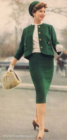 career girl power suit 1959 green knit wool jacket shell top shirt white cream skirt matching hat purse shoes model magazine late 50s early 60s looks
