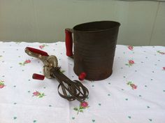 Vintage Egg Beater and Measuring Sifter Set Red Kitchen Accessories Decor. $15.00, via Etsy.