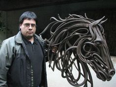 Оne more really beautiful iron sculpture. here it is - work by Adrian Aguilar… Metal Sculpture Artists, Steel Sculpture, Horse Sculpture, Animal Sculptures, Welding Art Projects, Steel Art, Scrap Metal Art, Iron Art, Art Archive