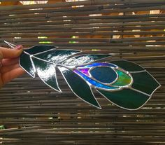 Peacock Feather Stained Glass Sun-Catcher for Home by LotusLabs