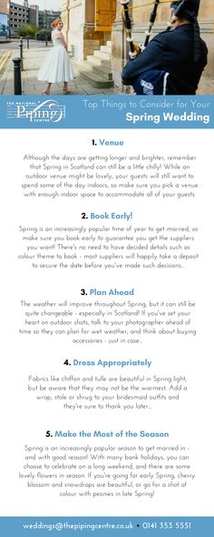 Top Things to Consider for Your Spring Wedding - The National Piping Centre