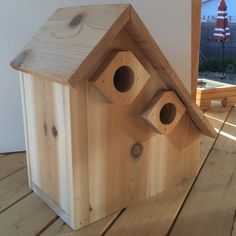 Bluebird birdhouse duplex cedar outdoor by WoodenTurtleArtisan