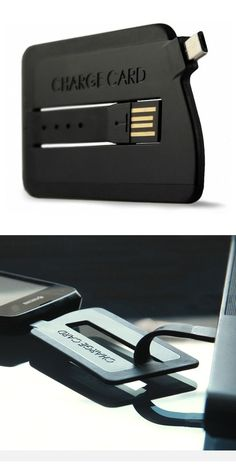 ChargeCard // a simple, slim, portable cable that fits in your wallet for on-the-go charging #productdesign #gadgetfrenzy