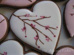 Cherry Blossom Heart Cookies