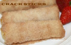 Bread filled with cream cheese and rolled in a cinnamon sugar, we call them Crack Sticks because you can't eat just one.