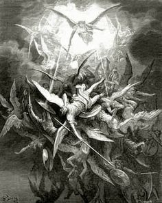 Satan and his followers being cast out of hell. This represents emotions by senseing the despair Satan feels by being rejected by God.. By:Gustave Doré called:Milton, Paradise Lost, Lucifer is Cast Out of Heaven