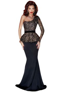 0f336303d036e Her One Shoulder Floral Lace Peplum Top Long Skirt Black Formal Dress