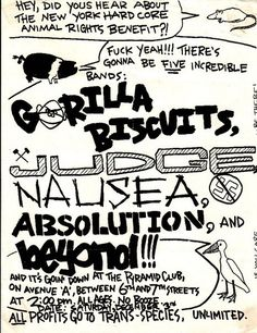 Gorilla Biscuits, Judge, Nausea, Absolution, Beyond punk hardcore flyer