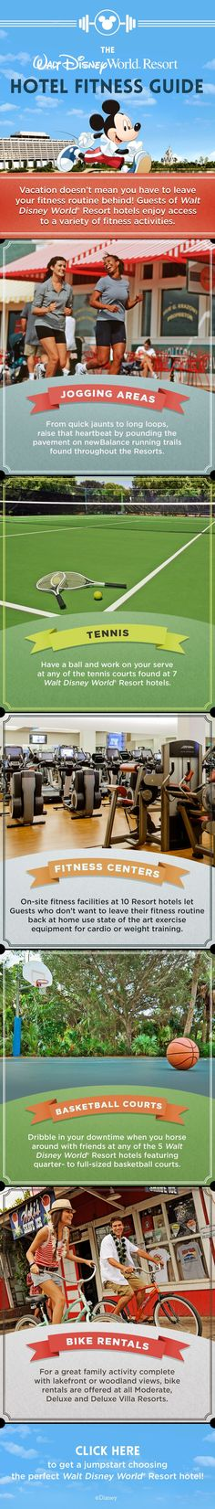 A Walt Disney World vacation doesn't mean you have to leave your fitness routine behind! Enjoy a variety of activities including running, tennis, biking, and basketball when you stay at a Walt Disney World Resort hotel! | Disney Tips | Disney Resort Tips | Disney Hotel Tips |