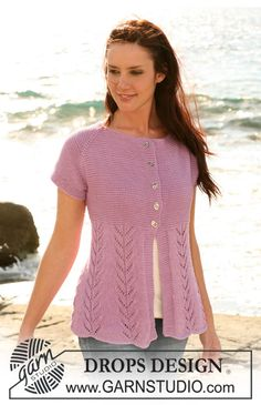 """DROPS jacket with lace pattern and raglan sleeve in """"Muskat"""". Size S-XXXL:  I have this one on the needles but modified the top of the lace to be a tulip.  Done in a lt. dusty rose--can't wait to finish this!"""