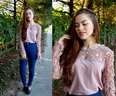 Get this look: http://lb.nu/look/7483700  More looks by Bárbara Kohls: http://lb.nu/barbarabk  Items in this look:  Choies Crochet Lace Blouse, Primark High Waiste Denim Pants, Oasap Cutout Sandals   #retro #romantic #vintage #lace #crochet #highwaisted