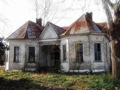 Abandoned house. What an interesting design...