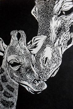 Giraffes Linocut on Japanese Kozuke paper (44gsm white) by Rowanne Anderson http://www.rowanneanderson.com/ Tags: Linocut, Cut, Print, Linoleum, Lino, Carving, Block, Woodcut, Helen Elstone, Animals
