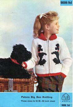 "childrens dog motif jacket knitting pattern pdf download vintage 60s poodle cardigan zipper jacket bomber jacket 26-30"" chunky bulky 12 ply by Minihobo on Etsy"