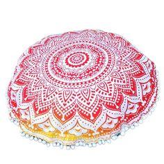 Indian Large Mandala Floor Pillowcase Round Bohemian Meditation Cushion Case Ottoman Pouf bohemian floor pillows cushions Case