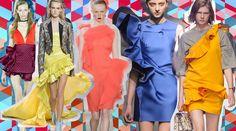 Balze e rouches sono il nuovo tratto distintivo della couture a porter. Scegli tu quante e quali, purché ce ne siano. Da sinistra: Mary Katrantzou, Roberto Cavalli, Jason Wu, Lanvin e MSGM  -cosmopolitan.it