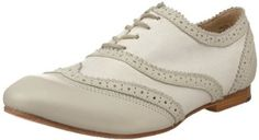 "J. Shoes Women's Jazzy Fab Oxford - Honeydew/Off White - leather with leather sole, heel 0.5"" $29.99"