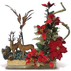 Christmas Arrangement With Deer and Poinsettas Christmas Decorations For The Home, Cool Christmas Trees, Christmas Swags, Xmas Wreaths, Christmas Art, Christmas Holidays, Christmas Flower Arrangements, Christmas Centerpieces, Floral Arrangements