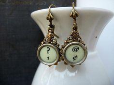 Typewriter Key Jewelry  Earrings  Art Deco Style by IvieRidge, $21.50  WANT!!!