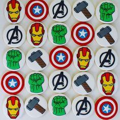 Kakes by Keren - Timeline Avengers Birthday, Batman Birthday, Superhero Birthday Party, Boy Birthday, Iced Cookies, Royal Icing Cookies, Cupcake Cookies, Sugar Cookies, Superhero Treats