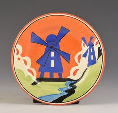 I would say that this is the best small piece of windmill i have ever seen ! an amazing example on a rare 6 Clarence Cliff, Art Nouveau, Art Deco, Higher Design, Ceramic Artists, China Porcelain, Applique Designs, Windmill, Landscapes