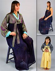 #141 Korean Han-Bok Misses Extra Small to Extra Large;  Child's 4-14. $19.95  This is the traditional costume of Korea, composed of the chogori or short jacket and chima or full dress. Wear both components of the han-bok in the traditional way, the dress alone as a sheer summery sundress, or the jacket as a dramatic art-to-wear companion to a simple dress or tunic. Pattern includes historical notes about the Han-Bok and design motifs from different periods of Korea's history.