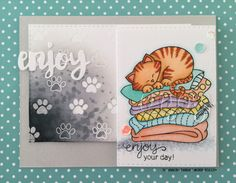Enjoy Your Day handmade card. Used #newtonsnook stamps Newton's Naptime, Newton's Antics, Newton's Summer Vacation and #SSSFAVE dies Stitched Rectangles, Painted Enjoy.