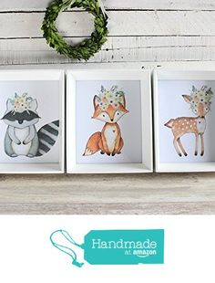 Woodland Nursery Prints, Girl Nursery Art, Woodland Animal Decor, Set of 3 from RosaLilla https://www.amazon.com/dp/B01M11XKWX/ref=hnd_sw_r_pi_awdo_Olezyb4VBD65H #handmadeatamazon