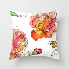 Inky Floral Throw Pillow by Yaz Raja // illustratedfashion - $20.00