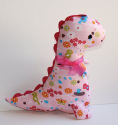 Girly Pink Dinosaur Softie Stuffed Dinosaur Dino by FrogBlossoms, $16.00