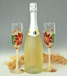 Navidad gafas invierno boda copas de Champagne copas de boda