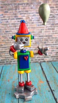 Kawaii Robot Birthday Cake Topper  holding by RobotsAreAwesome, $40.00