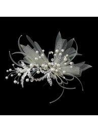IVORY, PEARL & CRYSTAL RIBBON HAIR CLIP - BRIDAL WEDDING HAIR ACCESSORIES
