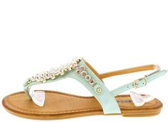 SARAH06 MINT RHINESTONE EMBELLISHED THONG FASHION WOMEN'S SANDALS ONLY $10.88. All women's shoes, heels, wedges, sandals, and flats are $10.88 a pair.