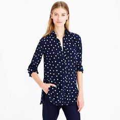 Love the navy with small white patterning on blouse.  I picture this under a hi-lo white sweater and rad skinny pants for a fall/winter look
