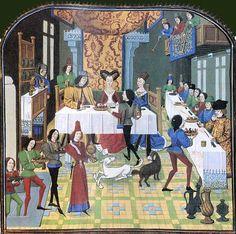 Banchetto, XV sec., in Histoire d'Olivier de Castille et d'Artus d'Algarbe