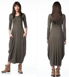 Sukienka maxi,dresowa, kieszenie, khaki, r. M
