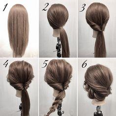 ポニーテールの簡単アレンジです。 2.右側に少しよせて一つに結びます。 3.くるりんぱします。 4.全体をほぐします。 5.残った。ロープ編みしてほぐします。 6.ロープ編みした毛束を左耳の上の辺りにピンで留めて完成です。 #ヘアアレンジ#簡単ヘアアレンジ #セルフヘアアレンジ#ヘアカラー#ヘアメイク#まとめ髪#編み込み#ほぐし#ブライダル#結婚式#ウェデイング#お呼ばれヘア#フィッシュボーン#ハーフアップアレンジ#三つ編み#三つ編みアレンジ #ヘアアレンジ解説#ポニーテール#ポニーテールアレンジ #hair#hairmake