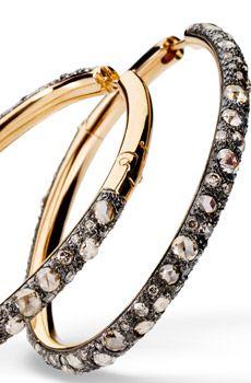 Boucles d'oreilles Tango en or rose bruni avec brillants brown et diamants brown rose cut, Pomellato