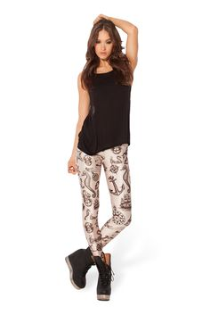 Nautical Brown Leggings Limited by Black Milk Clothing $75AUD