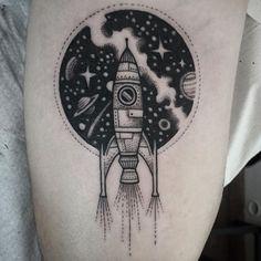 Spaceship tattoo by Susanne König