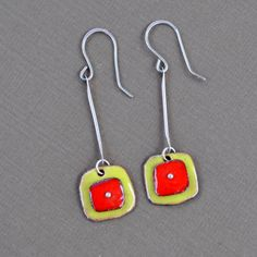 Red and Green Torch Fired Enamel Earrings by lonesomedovedesigns
