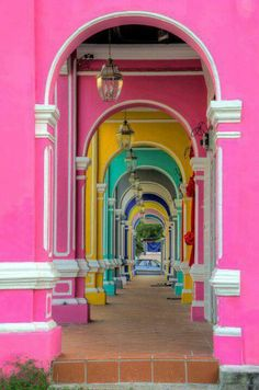 Colorful passage in George Town, Penang. Walked through this very passage numerous times. Miss George town! Colors Of The World, Kuala Lumpur, Beautiful World, Beautiful Places, Color Of Life, Oh The Places You'll Go, Belle Photo, Rainbow Colors, Bright Colors