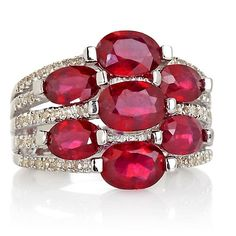 Colleen Lopez Ruby and Diamond Sterling Silver Ring