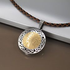 Silver Gold Celtic Tree Of Life Pendant Womens Braided Brown Leather Necklace