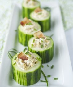 Cucumber Cup Appetizers. Cute idea you could fill with anything flavorful!