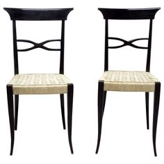 Pair of Elegant Ebonized Side Chairs in the Style of Gio Ponti | From a unique collection of antique and modern side chairs at https://www.1stdibs.com/furniture/seating/side-chairs/